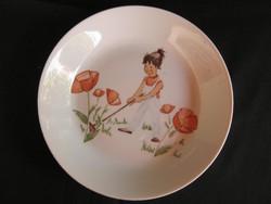 Német porcelán virágot ültető kislány gyerek tányér