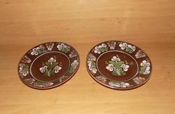 Sárospataki mázas kerámia falitányér párban 25,5 cm (3p)