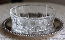 Cukorka tartó, bonbonier, öntött üveg, ezüstözött alátéttel