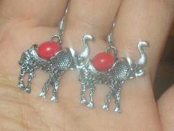 Korall díszes Szerencse Elefánt Tibeti ezüst Fülbevaló