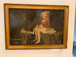 Kislány babával , olaj , karton festmény
