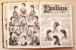 1870. évad Der Bazar - Női divatmagazin újság bekötve