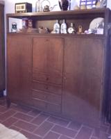 Nincs minimálár Retro mid century két ajtós,fiókos lehajtható íróasztalos tömör fa,vitrines szekrény