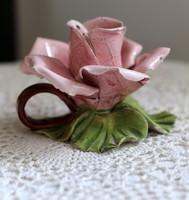 Rózsa formájú, egyedi, kézzel készült, kerámia gyertyatartó