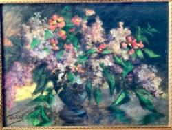 Sztelek Norbert híres festő, grafikus (1884 - 1956) Virágcsendélet