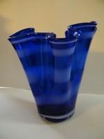 Különleges, hullámos kék nagy méretű Scott üvegváza