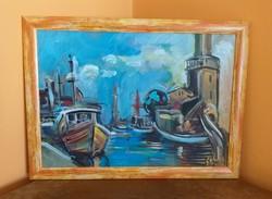 Scholtz Endre: Mediterrán kikötő - festmény
