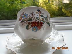 MZ Austria aranykontúrozott szecessziós teás csésze, csipkézett cakkos  alátéttel