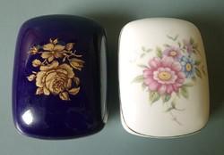 2 darab régi, jelzett Hollóházi porcelán bonbonier dísztárgy díszdoboz