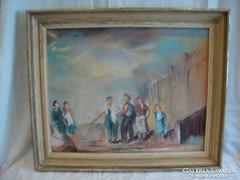 Jelzett szocreál pasztell festmény