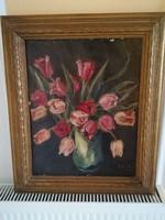 Tulipanok festmény 60x 50cm