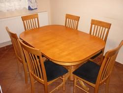 Keményfa asztal+6 szék...bővíthető