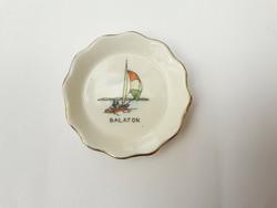 Aquincum Balaton szuvenír tálka - Retro porcelán nyaralási emlék, turizmus, turista emléktárgy