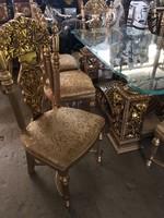 8személyes üveglapos ebédlőasztal -aranyozott-aranyozott székekkel