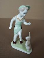Aqvincum porcelán - kisfiú nyuszival -