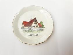 Aquincum Aggtelek szuvenír tálka -  retro porcelán nyaralási emlék, turizmus, turista emléktárgy