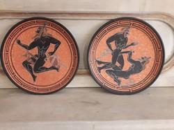 2 db. görög fali tányér.
