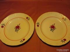 2 db rózsás Gránit lapos tányér