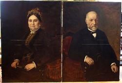 Bruck Lajos (1846 - 1910) :Nagyméretű félalakos portré pár: 112 ,5 x 82,5 cm