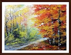 Czinóber - Őszi kirándulás ( 30 x 40, olaj, gyönyörű keretben )