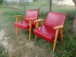 Retro masszív kis piros műbőr fotel