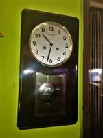 14 napos Chronotecna ritka fél és egész ütős Csehszlovák mechanikus falióra.