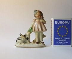Régi, jelzett Bertram porcelán kislány figura nyuszikákkal-mini méretű