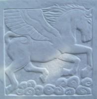 Kőfaragvány dombormű Táltos Pegazus Ló Paripa görög márványból