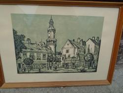 Réti Mátyás ritka rézkarca: Sopron . hires magyar festő
