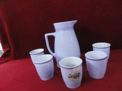 LILIEN porcelán Ausztria, boros készlet. Delfinkék kancsó öt pohárral.