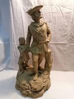 Tell Vilmos William Tell porcelán szobor BÁV-ba vásárolt címkével
