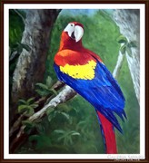 Reibl János - Papagáj ( nagyméretű olajfestmény ) ( keret nélkül )