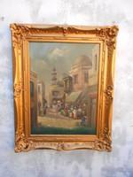 Cserna Károly ( 1867- 1944 ) Kairo-i forgatag című képe / Nagyméretű, a fotón látható keretben.