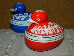 Hollóházi piros festésű kacsás bonbonier