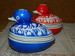 Hollóházi kék festésű kacsás bonbonier