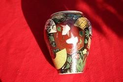 Antik gyönyörűség lámpatest váza vagy kaspó festett majolika Fischer.ZSolnay jellegű kerámia?