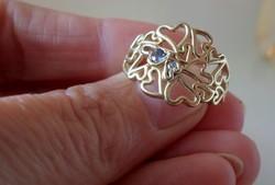 Gyönyörű valódi tanzanit és brill 14kt arany gyűrű