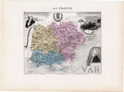 Var térkép 1877, eredeti, színes, francia megye, Franciaország, Cote D'azur, dél, La Seyne, S Tropez