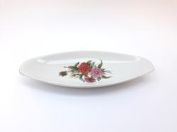 Hollóházi hajó formájú hamutál asztalközép kínáló kulcstartó virág mintával - retro porcelán