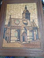 Faberakásos, fa mozaik falikép, templom, hibátlan