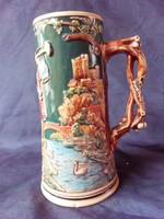 19.századi,figurális, vadász jelenetes kerámia kupa, korsó. Gyűjtői darab!!! Hibátlan.