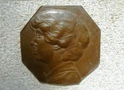 Anton Grath (Austrian, 1881 - 1956) Női Portré bronz plakett