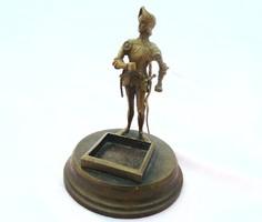 Antik bronz / üveg tintatartó kalamáris