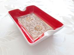 Retro Hollóházi porcelán régi hamutartó piros hamutál hamuzó