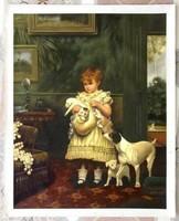Kislány és kutyusok VALÓDI OLAJFESTMÉNY, MESTERMŰ EREDETI ANTIK FESTMÉNYRŐL, 80cm LÁTVÁNYOS FESTMÉNY