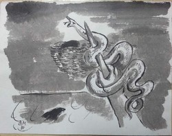 Borsos Miklós - 26 x 33 cm lavírozott tus, papír