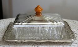 Art deco ezüstözött vajtartó hibátlan üvegbetéttel