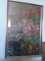 Szignált ART DECO VIRÁGCSENDÉLET 1937  üveg alatt bontatlan római iskola