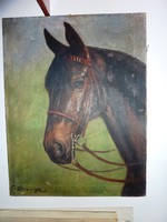 H Klein?: Barna ló, régi olaj-vászon, jelzett 1905-ből