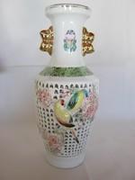 Madaras virágos áttört mintázatú porcelán lámpatest